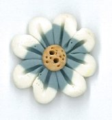 Button - Slate Blue Blossom, Medium THUMBNAIL