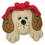Button - Puppy Head with Bow THUMBNAIL