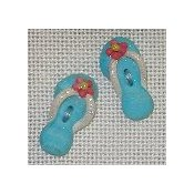 Button - Aqua Flip Flops, set of 2