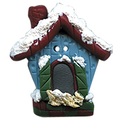 Button - Winter Birdhouse, Large THUMBNAIL