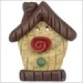 Button - Birdhouse With Rose
