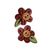 Button - Small Red Flower Head w/ Leaf, Set of 2 THUMBNAIL