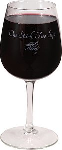 "Stitch Happy ""One Stitch, Two Sips"" Wine Glass MAIN"