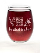 "Stitch Happy ""Love What You Do, Do What You Love"" Stemless Wine Glass THUMBNAIL"