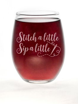 "Stitch Happy ""Stitch A Little, Sip A Little"" Stemless Wine Glass MAIN"
