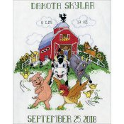 Tobin Baby Cross Stitch Kit - Barnyard Sampler Birth Record_THUMBNAIL