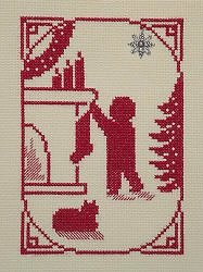 Handblessing Christmas Memories Silhouette - Boy Hanging the Stocking