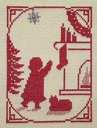 Handblessing - Christmas Memories Silhouette - Girl Hanging the Stocking