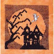 Handblessings - Halloween Silhouette - Haunted House in the Moon