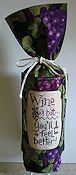 Stitch A Gift Wine Bag - Black w/ Purple Grapes