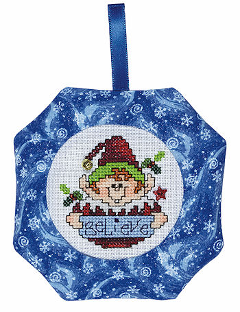 Octagonal Prefinished Christmas Ornament - Blue Print MAIN