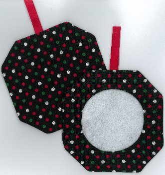 Octagonal Prefinished Christmas Ornament - Dark Fabric (Assorted Prints) MAIN