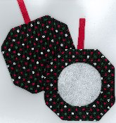 Octagonal Prefinished Christmas Ornament - Dark Fabric (Assorted Prints) THUMBNAIL