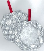 Octagonal Prefinished Christmas Ornament - Grey Print THUMBNAIL