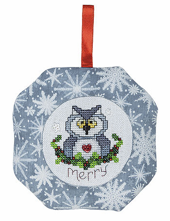 Octagonal Prefinished Christmas Ornament - Grey Print
