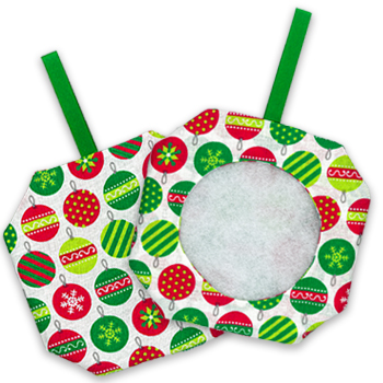 Octagonal Prefinished Christmas Ornament - Light Print Fabric MAIN