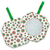 Octagonal Prefinished Christmas Ornament - Light Print Fabric THUMBNAIL