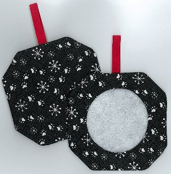 Octagonal Prefinished Christmas Ornament - Black Paws MAIN