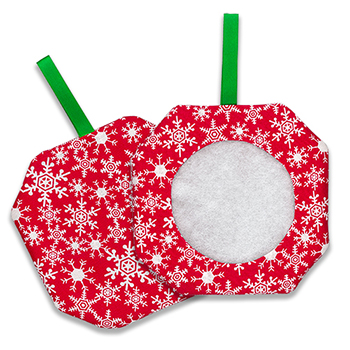 Octagonal Prefinished Christmas Ornament - Red Fabric (Assorted Prints) MAIN