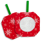 Octagonal Prefinished Christmas Ornament - Red Fabric (Assorted Prints) THUMBNAIL