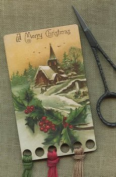 Vintage Postcard Series #21 -  A Merry Christmas Threadkeep MAIN