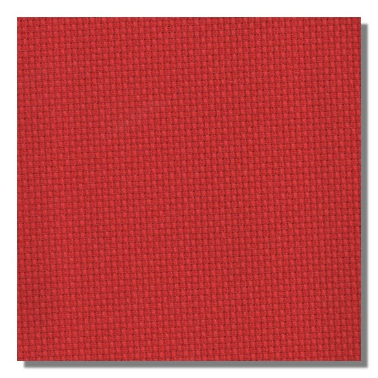 Color swatch of 11ct Christmas red Aida cross stitch fabric