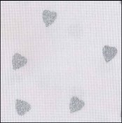 "Fabric Flair White with Silver Glitter Hearts 14ct Aida 18"" x 27"" THUMBNAIL"