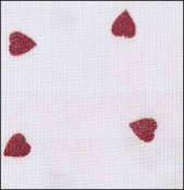 "Fabric Flair White with Red Glitter Hearts 16ct Aida 18"" x 27"" THUMBNAIL"