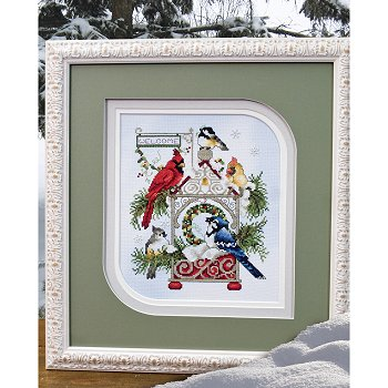 Photo of framed cross stitch Winter Welcome Birds THUMBNAIL
