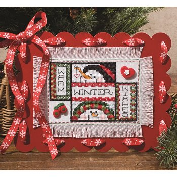 "photo of scalloped red magnet frame with ribbons displaying ""Warm Winter Wishes"" pattern from August 2013 magazine THUMBNAIL"