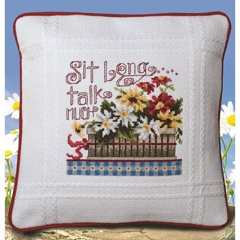 Prefinished Pillow - 18ct Anne Cloth - Talk Much MAIN