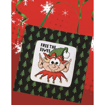 stitch a gift banner black christmas trees - Black Christmas Stocking