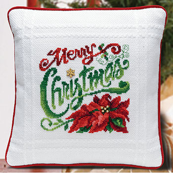 Prefinished Pillow - Christmas - 18ct Anne Cloth