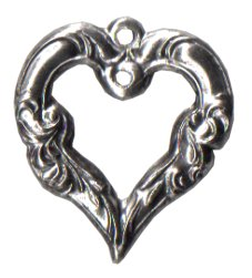 Charm Ornate Silver Heart THUMBNAIL
