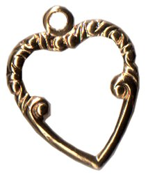 Charm Top Ornate Heart Gold