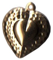 Charm Gold Heart W/ Border