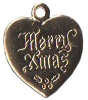 Charm Gold Merry Xmas Heart