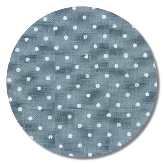"Belfast Linen 32ct Petit Point - Blue w/ White Dots - 18"" x 27.5"" cut"