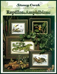 Cover photo of Stoney Creek Book 241 Reptiles & Amphibians featuring realistic cross stitch frogs lizards and more