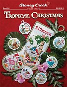 cover of Stoney Creek cross stitch Book 441 Tropical Christmas with Santa Claus stocking and ornaments THUMBNAIL