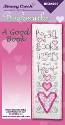 picture of Stoney Creek cross stitch Bookmark Chart that says A Good Book lingers in the heart_THUMBNAIL