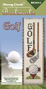 picture of Stoney Creek counted cross stitch Bookmark Chart - Golf showing a wood driver, golf club, golf ball and tee_THUMBNAIL