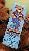 picture of 14ct Polar Ice Aida Bright Ideas Bookmark showing teddy bear design from Stoney Creek 2007 magazine