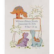 Bucilla Cross Stitch Kit - Cute-A-Saurus Birth Record