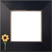 Button Frame - Sunflowers 4x4 Black