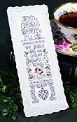 "picture of 18ct white Aida lace edge bookmark showing ""God's Book Club"" design from Stoney Creek April 2010 magazine"
