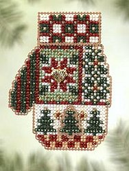 Mill Hill Bead Kit Charmed Mittens - Patchwork Holiday MAIN