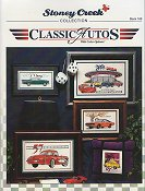 Front cover of Stoney Creek Book 165 Classic Autos showing cross stitch car designs