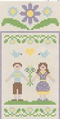 Country Cottage Needleworks - Spring Social Series #4 Lovebird Couple THUMBNAIL