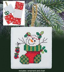 Christmas Pocket Ornaments - Snowman in Stocking